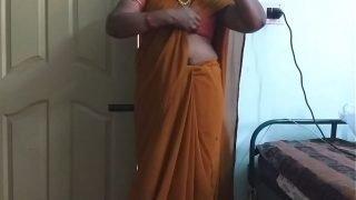desi  indian horny tamil telugu kannada malayalam hindi cheating wife wearing saree vanitha showing big boobs and shaved pussy press hard boobs press nip rubbing pussy masturbation