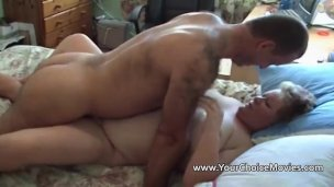 Husband playing with his fat wife